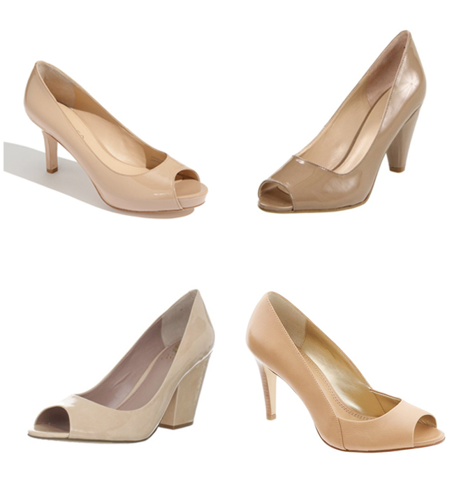 nude peep toe pumps mid height heel